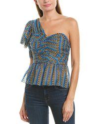 BCBGMAXAZRIA One-shoulder Silk-blend Top - Blue