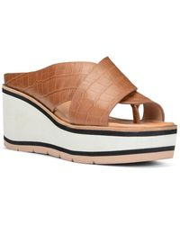 Donald J Pliner Arya Leather Wedge Slide - Brown