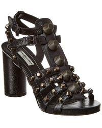 Balenciaga Giant Studded Leather Sandal - Black