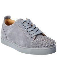 Christian Louboutin Louis Junior Spikes Orlato Suede Sneaker - Grey