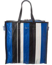 Balenciaga Bazar Medium Leather Shopper Tote - Blue