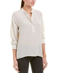 Vince - Shirred Silk Top - Lyst