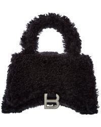 Balenciaga Hourglass Xs Fluffy Top Handle Satchel - Black