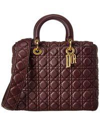 Dior Lady Leather Shoulder Bag - Red