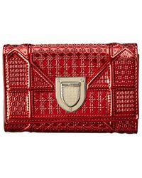 Dior Diroama Patent Tri-fold Wallet - Red
