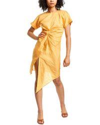 Ronny Kobo Elias Linen-blend Midi Dress - Orange
