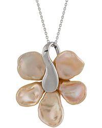 Splendid Silver 11-13mm Pearl & Cz Necklace - Metallic