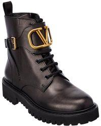Valentino Garavani Vlogo Leather Boot - Black