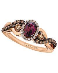 Le Vian - ® Chocolatier® 14k Rose Gold 1.10 Ct. Tw. White & Brown Diamond & Rhodolite Ring - Lyst