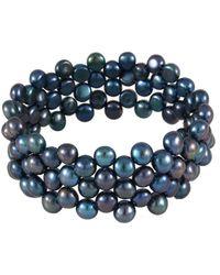 Splendid Stainless Steel 7-8mm Freshwater Pearl Bracelet - Blue