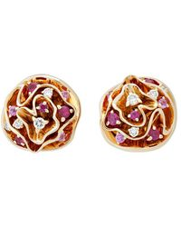 Louis Vuitton Louis Vuitton 18k Diamond & Gemstone Floral Earrings - Multicolour