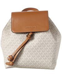 MICHAEL Michael Kors Junie Medium Flap Leather And Canvas Backpack - Natural