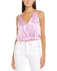 Michelle Mason Silk Wrap Bodysuit - Purple