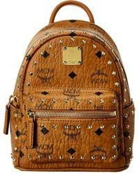 MCM Stark 32 Outline Studs Visetos Backpack - Brown