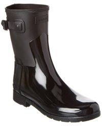 HUNTER Original Refined Short Gloss Duo Boot - Black