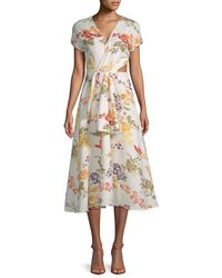 Rosie Assoulin Swept Away Floral Midi Dress - Natural