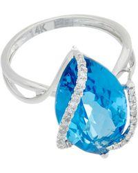 Effy - Fine Jewelry 14k 7.24 Ct. Tw. Diamond & Topaz Ring - Lyst