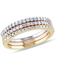 Rina Limor 18k Two-tone & Silver .60 Ct. Tw Diamond 3-ring Stackable Set - Metallic