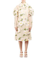 Simone Rocha Double Breasted Floral Sheer Jacket - Natural
