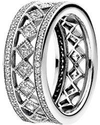 PANDORA Silver Cz Vintage Fascination Ring - Metallic