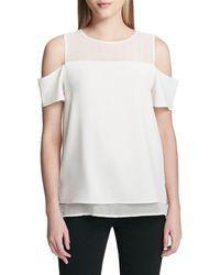 Calvin Klein Layered Cold-shoulder Top - White