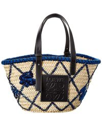 Loewe Basket Animals Raffia & Leather Tote - Blue