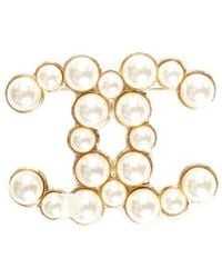 Chanel - Gold-tone 2015 Faux Pearl Beaded Cc Brooch - Lyst