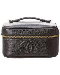 c697e4dfaccd Lyst - Chanel Black Caviar Leather Horizontal Cosmetic Case in Black