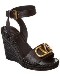 Valentino Vlogo 105 Grainy Leather Wedge Sandal - Black