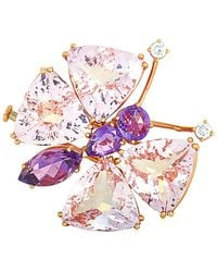 Chopard 18k Rose Gold 5.00 Ct. Tw. Diamond & Gemstone Brooch - Pink