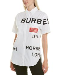 Burberry Short-sleeve Horseferry Print Cotton Oversized Shirt - White