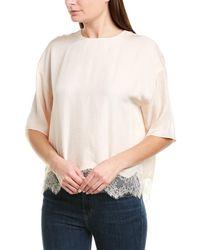Vince Lace-trim T-shirt - Natural