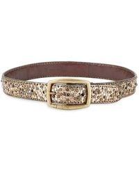 Frye Deborah Embellished Leather Belt - Metallic