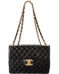 Chanel - Black Lambskin Leather Chevron Maxi Single Flap Bag - Lyst