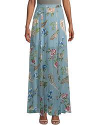 Alice + Olivia Athena Floral Maxi Skirt - Blue