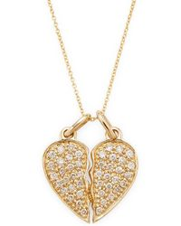 Sydney Evan 14k Diamond Broken Heart Necklace - Metallic