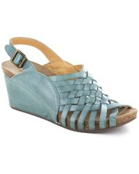 Chocolat Blu Eliana Leather Wedge Sandal - Blue