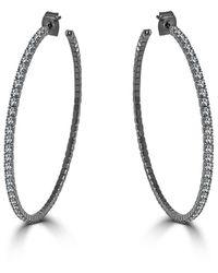 Sabrina Designs 2.5in Crystal Hoop Earrings - Metallic