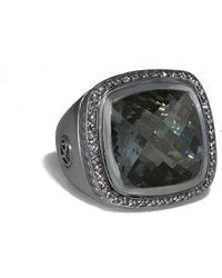 David Yurman David Yurman Cable Silver 12.50 Ct. Tw. Diamond & Prasiolite Ring - Metallic