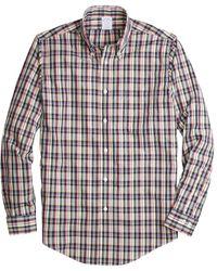 Brooks Brothers Non-iron Regent Fit Mini-madras Sport Shirt - White