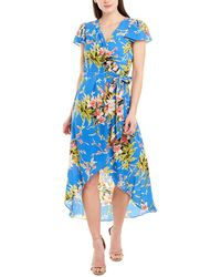 Julia Jordan Floral Faux-wrap High-low Dress - Blue