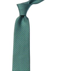 Ferragamo Chain Stripe Silk Tie - Green