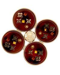 Louis Vuitton - Gold-tone Brown Inclusion Art Deco Pin - Lyst