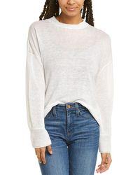INHABIT Linen Button Sweater - White