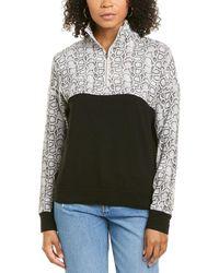 Monrow Colorblocked Snake Sporty Sweatshirt - Black
