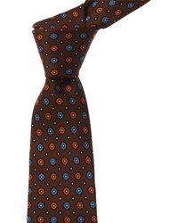 Kiton Brown Flowers Silk Tie