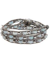 Chan Luu - Silver Gemstone Leather Wrap Bracelet - Lyst