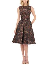 Kay Unger Floral Print Sleeveless Box Pleated Jacquard Fit Flare Dress - Brown