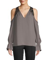 Ramy Brook Cold-shoulder Flare Sleeve Top - Gray