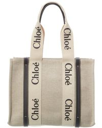 Chloé Medium Canvas & Leather Tote - Natural